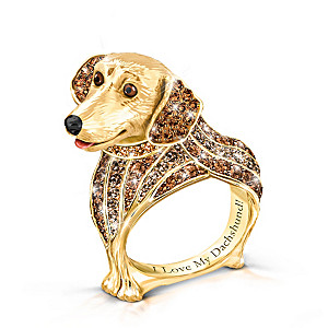 """""""Best In Show"""" Dachshund Ring With Multi-Colored Crystals"""