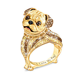 """Best In Show"" Pug Ring With Multi-Colored Crystals"