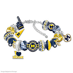 """Fashionable Fan"" Wolverines Charm Bracelet With 16 Charms"
