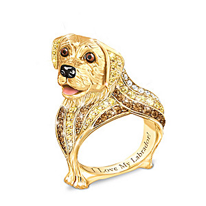"""Best In Show"" Labrador Ring With Multi-Colored Crystals"