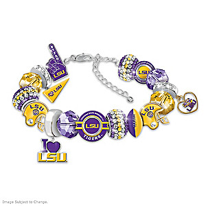 """Fashionable Fan"" LSU Tigers Charm Bracelet With 16 Charms"