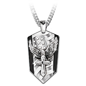 """""""God Bless America"""" Pendant Necklace With Black Sapphire"""