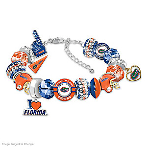"""Fashionable Fan"" Gators Charm Bracelet With 16 Charms"