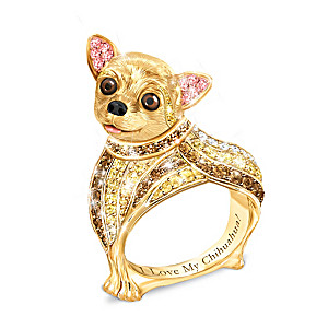 """""""Best In Show"""" Chihuahua Ring With Multi-Colored Crystals"""