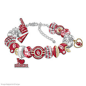 """""""Fashionable Fan"""" Sooners Charm Bracelet With 16 Charms"""