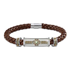 """Irish Legend"" Braided Leather Bracelet With Peridot Gem"