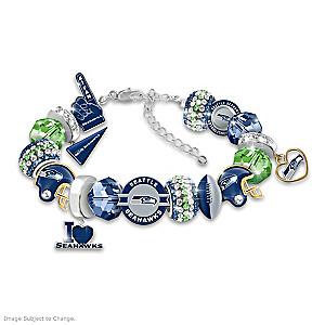 """""""Fashionable Fan"""" Seahawks Beaded Charm Bracelet"""