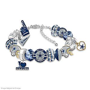 """Fashionable Fan"" Cowboys Beaded Charm Bracelet"