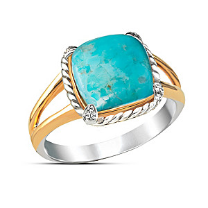 """Turquoise Splendor"" Sterling Silver And White Topaz Ring"
