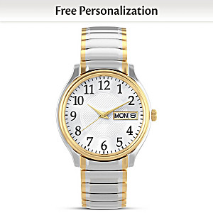 """Classic Daytimer"" Men's Watch With Engraved Initials"