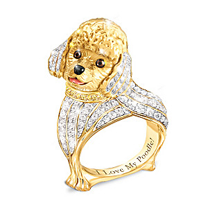 """""""Best In Show"""" Poodle Ring With Multi-Colored Crystals"""
