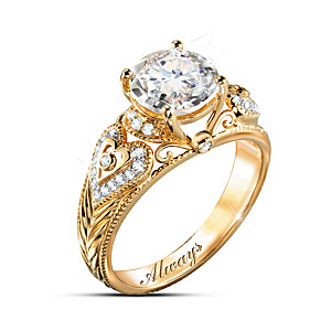 """I Adore You"" 18K Gold-Plated White Topaz Engraved Ring"