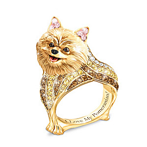 """""""Best In Show"""" Pomeranian Ring With Multi-Colored Crystals"""