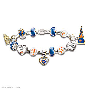 New York Mets Charm Bracelet With Swarovski Crystal