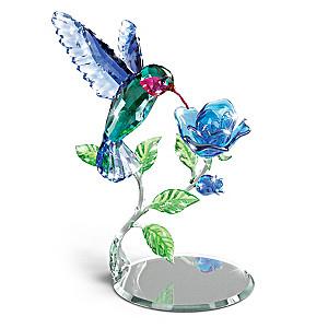 """Nature's Delicate Dance"" Crystal Hummingbird Sculpture"