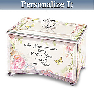 """My Granddaughter, I Love You"" Personalized Glass Music Box"