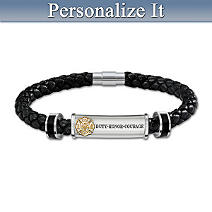 """Firefighter Brotherhood Of Honor"" Leather Initial Bracelet"