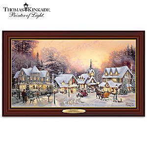 "Thomas Kinkade ""Village Christmas"" Illuminated Canvas Print"