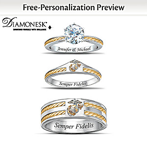 Usmc Personalized His Hers Diamonesk Wedding Ring Set