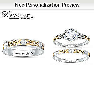 Irish Trinity Knot Custom His & Hers Diamonesk Wedding Rings