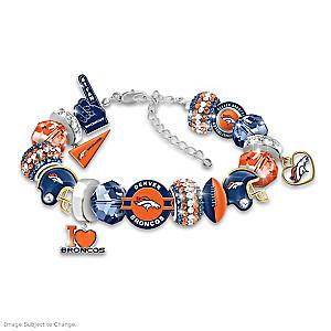 """Fashionable Fan"" Broncos Beaded Charm Bracelet"