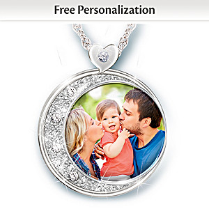 Crystal Pendant Necklace Personalized With Your Family Photo