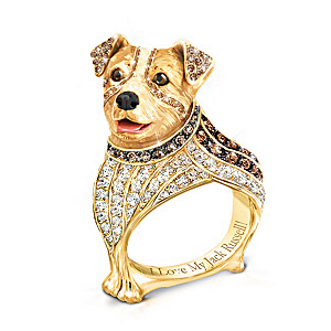 """""""Best In Show"""" Jack Russell Ring With Multi-Colored Crystals"""
