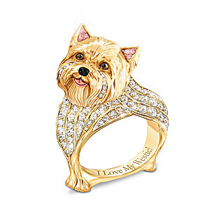 """Best In Show"" Westie Ring With Multi-Colored Crystals"