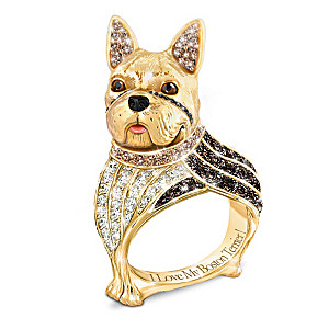 """""""Best In Show"""" Boston Terrier Ring With Colored Crystals"""