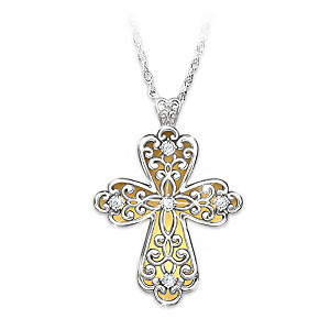 """Glowing Light Of Faith"" Cross Pendant Necklace With Diamond"