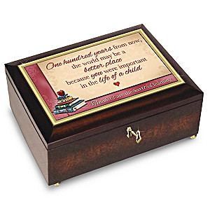 """Teachers Are The Heart Of Learning"" Music Box And Poem Card"