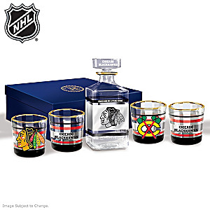 Chicago Blackhawks® Five-Piece Decanter And Glasses Set