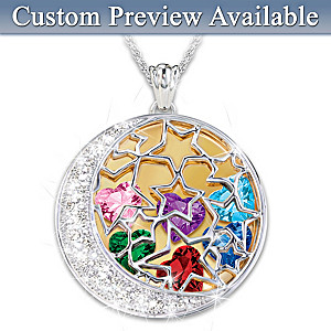 """Mom's Shining Stars"" Crystal Birthstone Pendant With Names"
