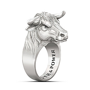 """""""Strong As A Bull"""" Men's Stainless Steel Ring With Sapphires"""