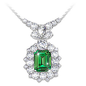 """Hollywood Romance"" Diamonesk Simulated Emerald Necklace"