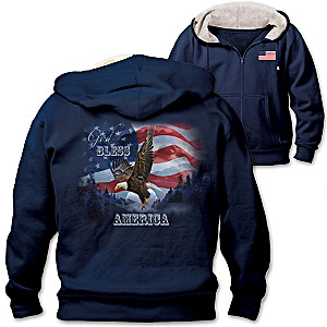 """God Bless America"" Men's Hoodie With Faux Sherpa-Lined Hood"