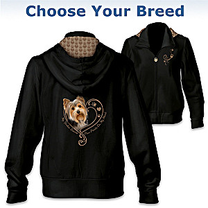 """Paw Prints On My Heart"" Women's Hoodie: Choose Your Breed"