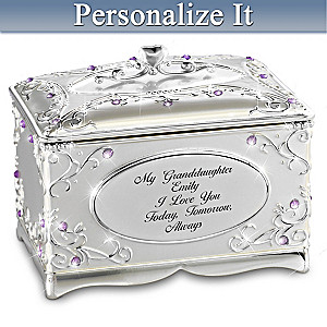 """""""Granddaughter, I Love You"""" Music Box Personalized With Name"""