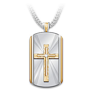 """Always With You"" Grandson Dog Tag Cross Pendant Necklace"