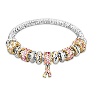 """Message Of Hope"" Breast Cancer Awareness Beaded Bracelet"