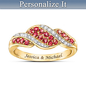 """Romance"" Ruby And Diamond Personalized Ring"