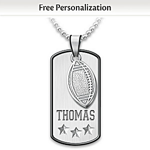 """Sports Star"" Name-Engraved Dog Tag Pendant For Grandsons"