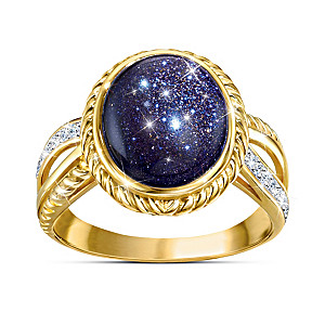 """Stars In The Night"" 18K Gold-Plated Blue Goldstone Ring"
