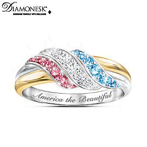 """Star Spangled Sparkle"" 18K Gold-Plated Diamonesk Ring"
