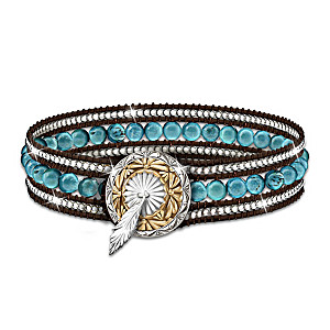 """Turquoise River"" Beaded Leather Wrap Bracelet"