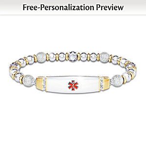 Medical Alert Beaded Bracelet With Personalized Engraving