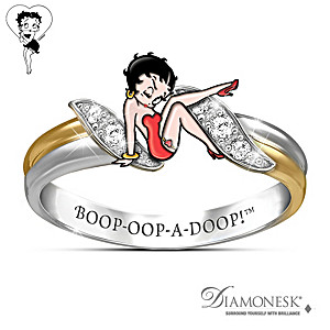 """Betty Boop"" Engraved Ring With Simulated Diamonds"