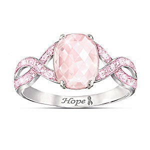 """Dazzling Hope"" Breast Cancer Awareness Gemstone Ring"