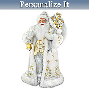 Personalized Musical Santa Sculpture With Glowing Lantern