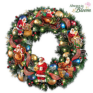 "Dona Gelsinger ""Santa's Busy Season"" Illuminated Wreath"